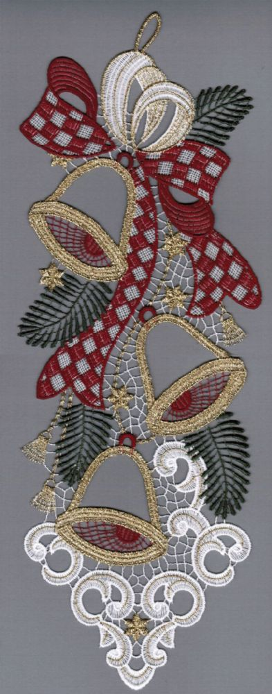 Embroidered Lace Merry Bells Christmas Window Picture